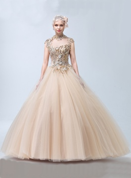 Luxury Jewel Neck Ball Gown Quinceanera Dresses