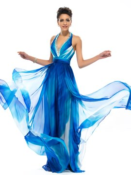 Terrific A-line Halter Beadings Gardient Evening Dress