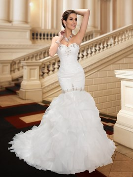 Classy Sweetheart Beading Court Train Mermaid Wedding Dress