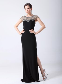 Classy Rhinestone Scoop Neck Split-front Black Long Evening Dress
