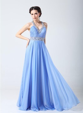 Classy Sexy Back Beading A-Line Floor Length Evening Dress