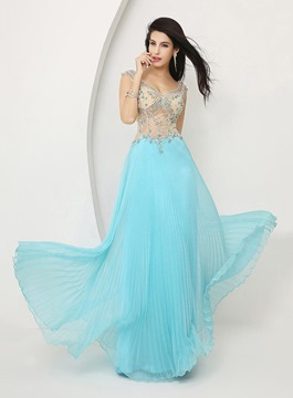 Exquisite V-Neck Corset A-Line Prom Dress