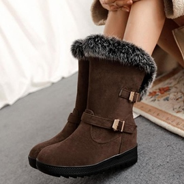 Sweet Fur Buckled Flat Heel Boots