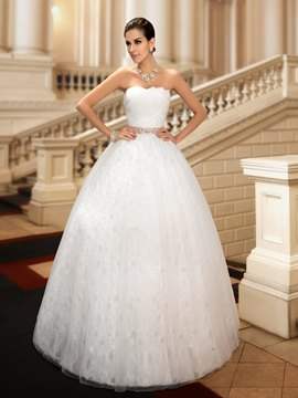 Classy Ball Gown Strapless Crystal Floor-Length Wedding Dress
