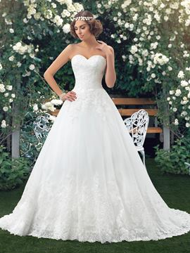 Dramatic Sweetheart A-Line Appliques Button Long Wedding Dress