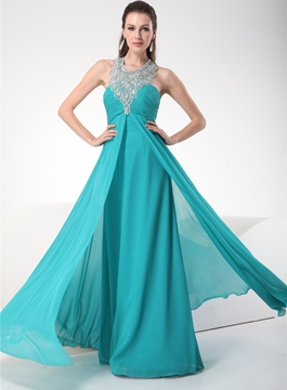Vogueal A-Line Beading Cowl Chiffon Evening Dress