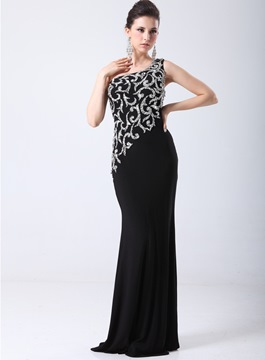 Charming Rhinestone One Shoulder Sheath/Column Evening Dress