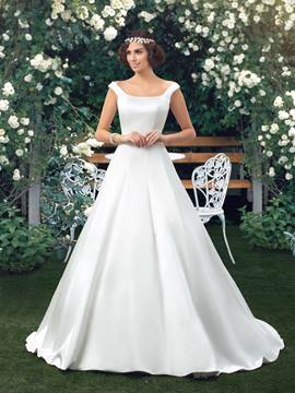 Simple Off-the-Shoulder A-Line Button Court Train Floor-Length Wedding Dress