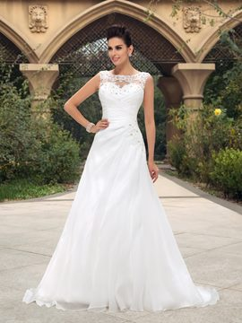 Beaded Lace Appliques Bateau Neck Ruched A-Line Zip-up Wedding Dress