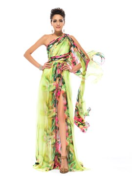 Floral Printed Split-front One Shoulder Prom Dress