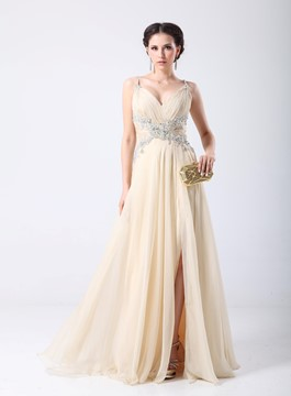 Spaghetti Straps Beading Floor Length Evening Dress