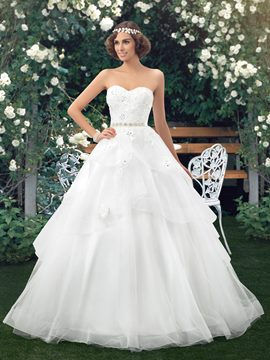 A-Line Strapless Tiered Applique Zipper-Up Wedding Dress