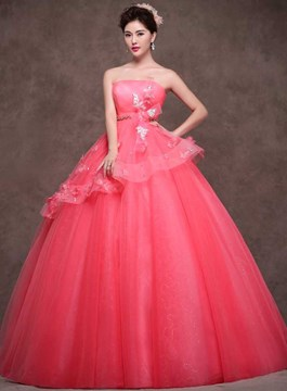 Fascinating Strapless Ball Gown Lace-Up Quinceanera Dress
