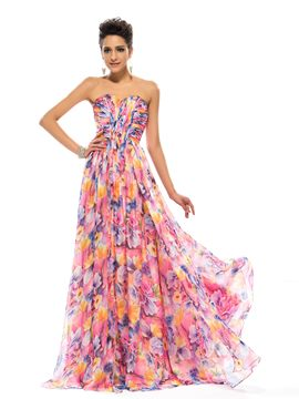 Glamorous Strapless A-Line Long Evening Printing Dress