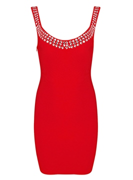Sexy Scoop Neck Sheath Beadings Little Party Dress