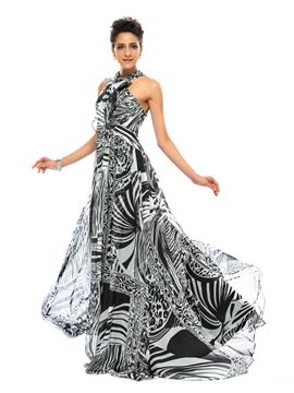 A-Line Halter Printing Evening Dress