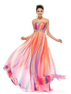Stylish A-line Sweetheart Crystal Floor-length Prom Dress
