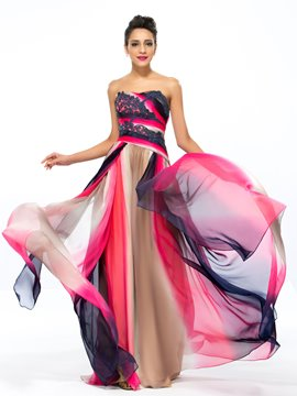 A-Line Strapless Appliques Printing Evening Dress