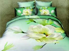 Fresh Green Flowers Print 4 Piece 3D Bedding Sets