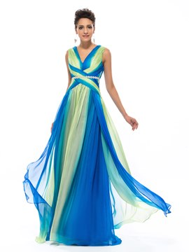 Classy V-Neck Floor Length Colorful Chiffon Prom Dress