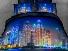 Amazing City Night View 4 Piece 3D Bedding Sets