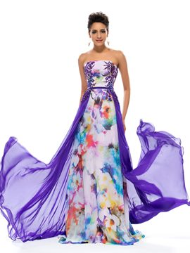 Pretty Strapless Appliques Printed Chiffon Evening Dress