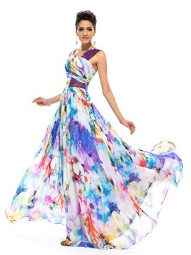 Timeless Straps A-Line Floor-length Printed Evening Dress