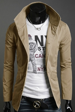 Slim Hooded Solid Color Men's Jacket