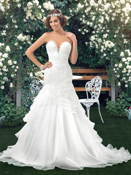 Sexy Trumpet Applique Sequin Lace-Up Wedding Dress