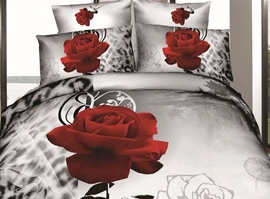 Sweet Melody of Love Print 4 Piece 3D Bedding Sets