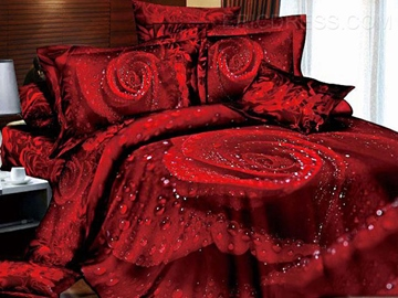 100% Cotton Classic Red Roses 4 Piece 3D Bedding Sets