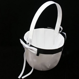 White Flower Basket With Bow