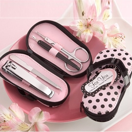 Stainless Steel Pedicure Kit With Pink Polka Dot Flip Flop Case