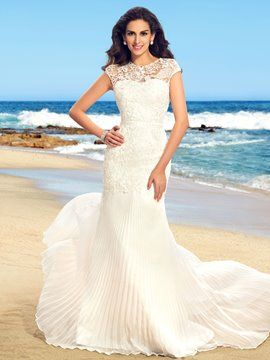 Delicate Beading Lace Mermaid Floor Length Wedding dress