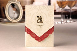 Classic Wrap & Pocket Wedding Invitation Cards (20 Pieces One Set)