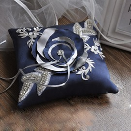 Vintage Beaded Ring Pillow With Bow