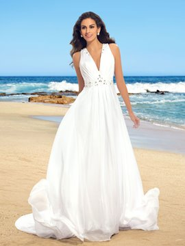 Simple V-Neck Beading Chiffon Beach Wedding Dress