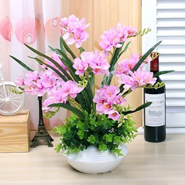 Pretty Simulation Flowers Set Series Desktop Decoration Potted Light Purple Orchis