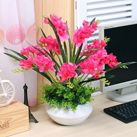Pretty Simulation Flowers Set Series Desktop Decoration Potted Rose Red Orchis
