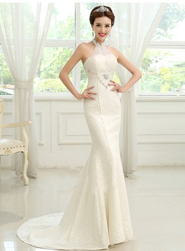 Classy Halter Mermaid Lace Wedding Dress