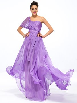Popular Sweetheart Ruffles A-Line Zipper-up Sweep Train Long Evening Dress