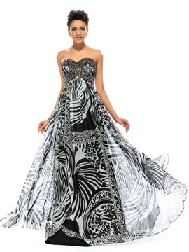 Classy Sweetheart Neckline Strapless Beading A-Line Long Evening Printing Dress