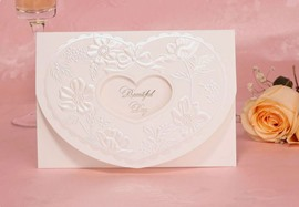 Personalized Solid Printing Heart-Shape Wedding Invitation (20 Pieces One Set)