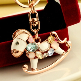 Dazzle colour zircon Trojan key chain