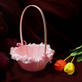 Pink Flower Basket in Satin &Lace With Bow