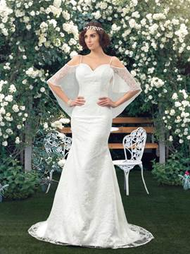 Mermaid/Trumpet Backless Sweep/Brush Train Wedding Dress