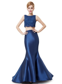 Attractive Sleeveless Mermaid Two-Piece Evening Dress
