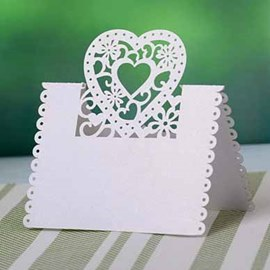 Heart shape Pearl Paper Place Cards (set of 10)