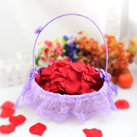 Bamboo Flower Basket With Lace Lining