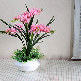 Pretty Simulation Flowers Set Series Desktop Decoration Potted Pink Orchis